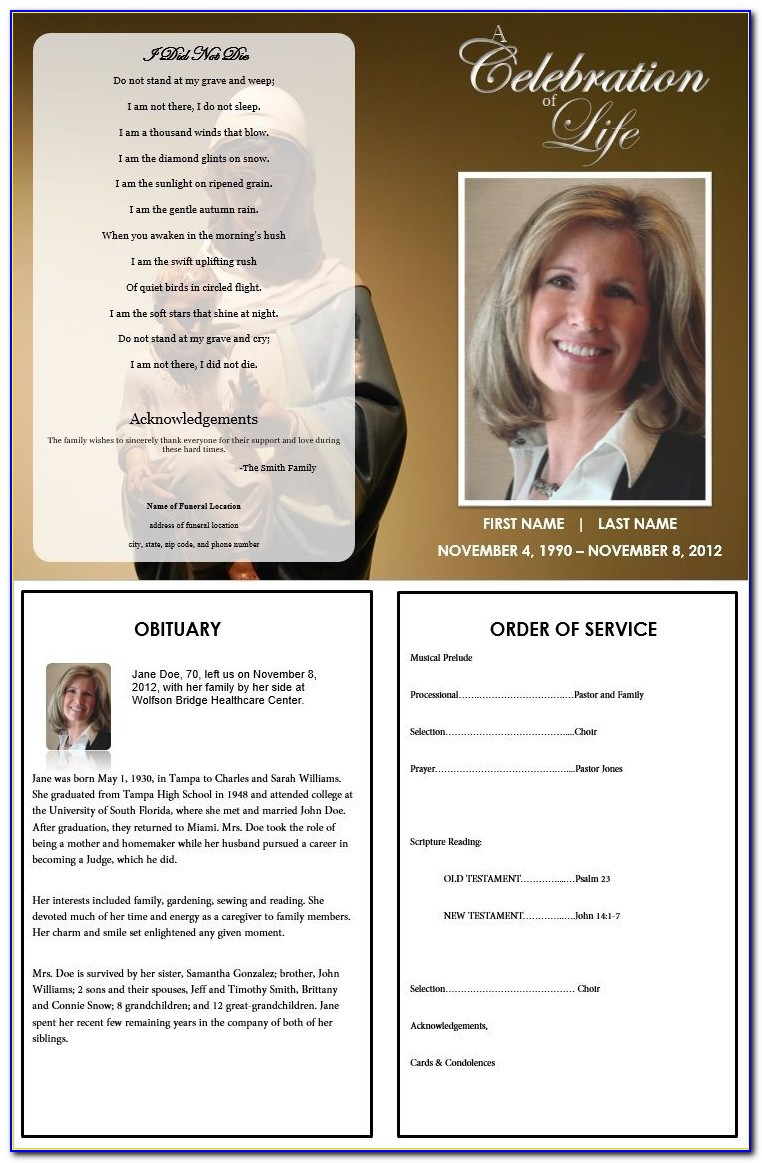 Funeral Pamphlet Template Word