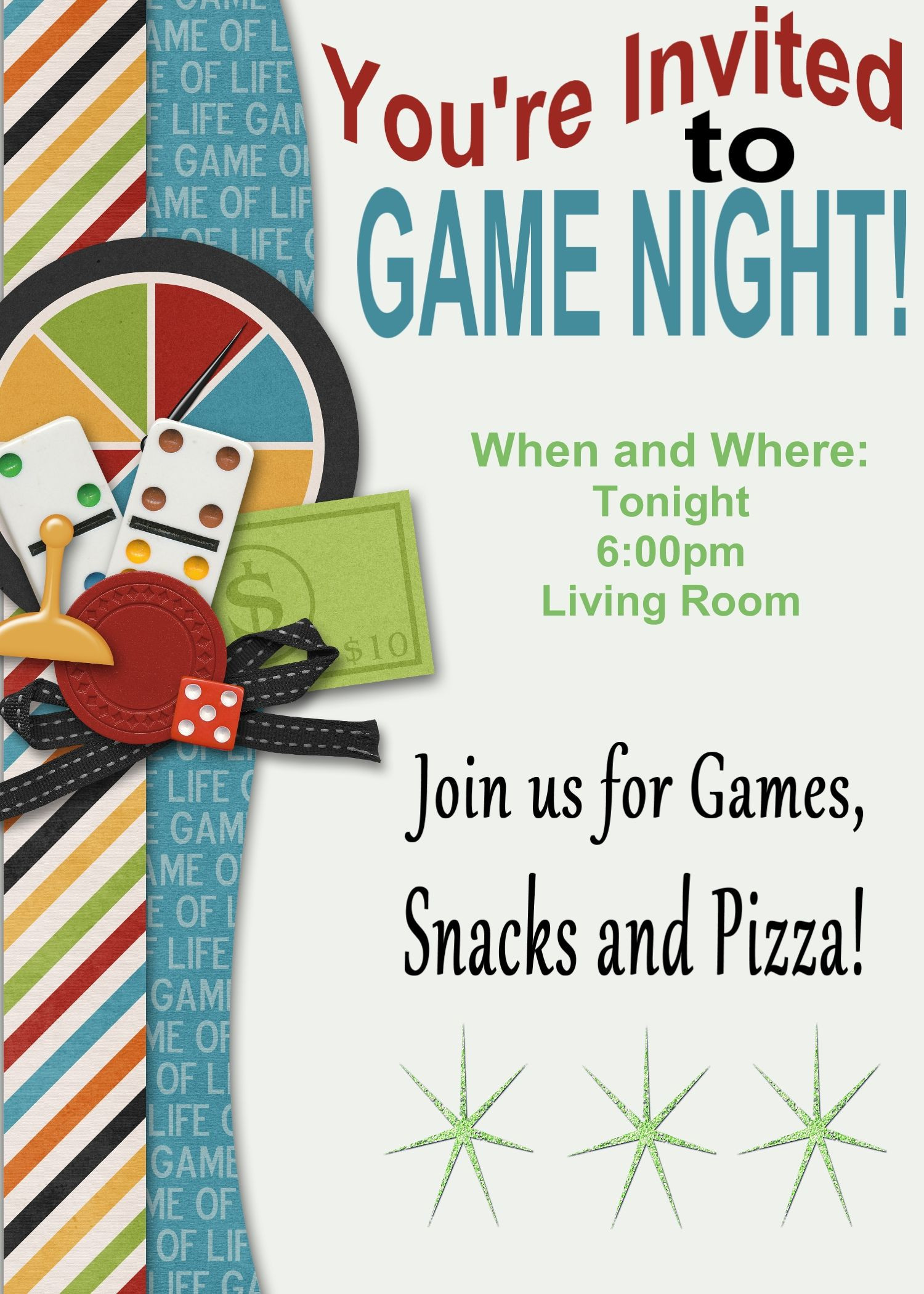 Game Night Printable Invitation and Game Review Printables