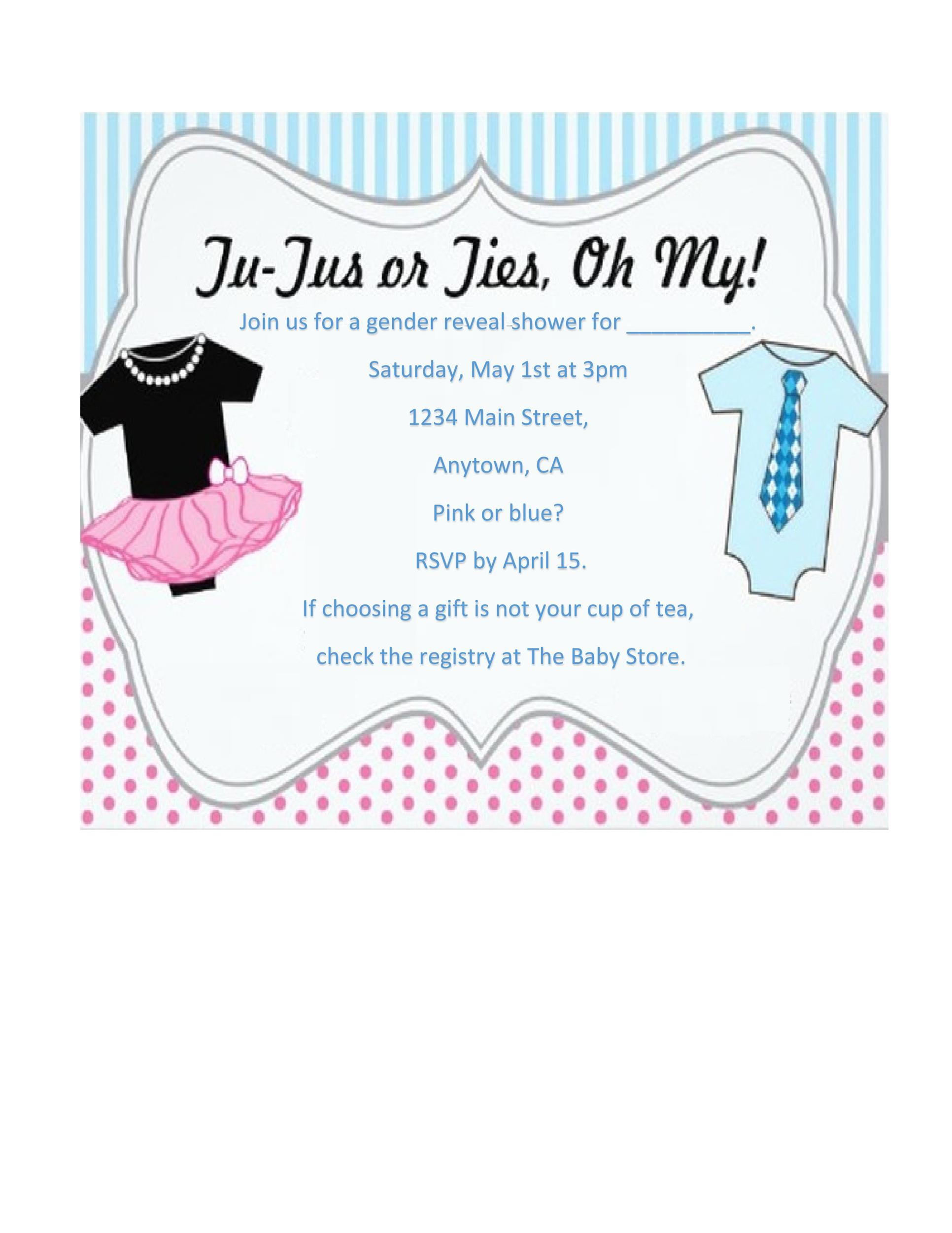 Gender Reveal Invitation Template