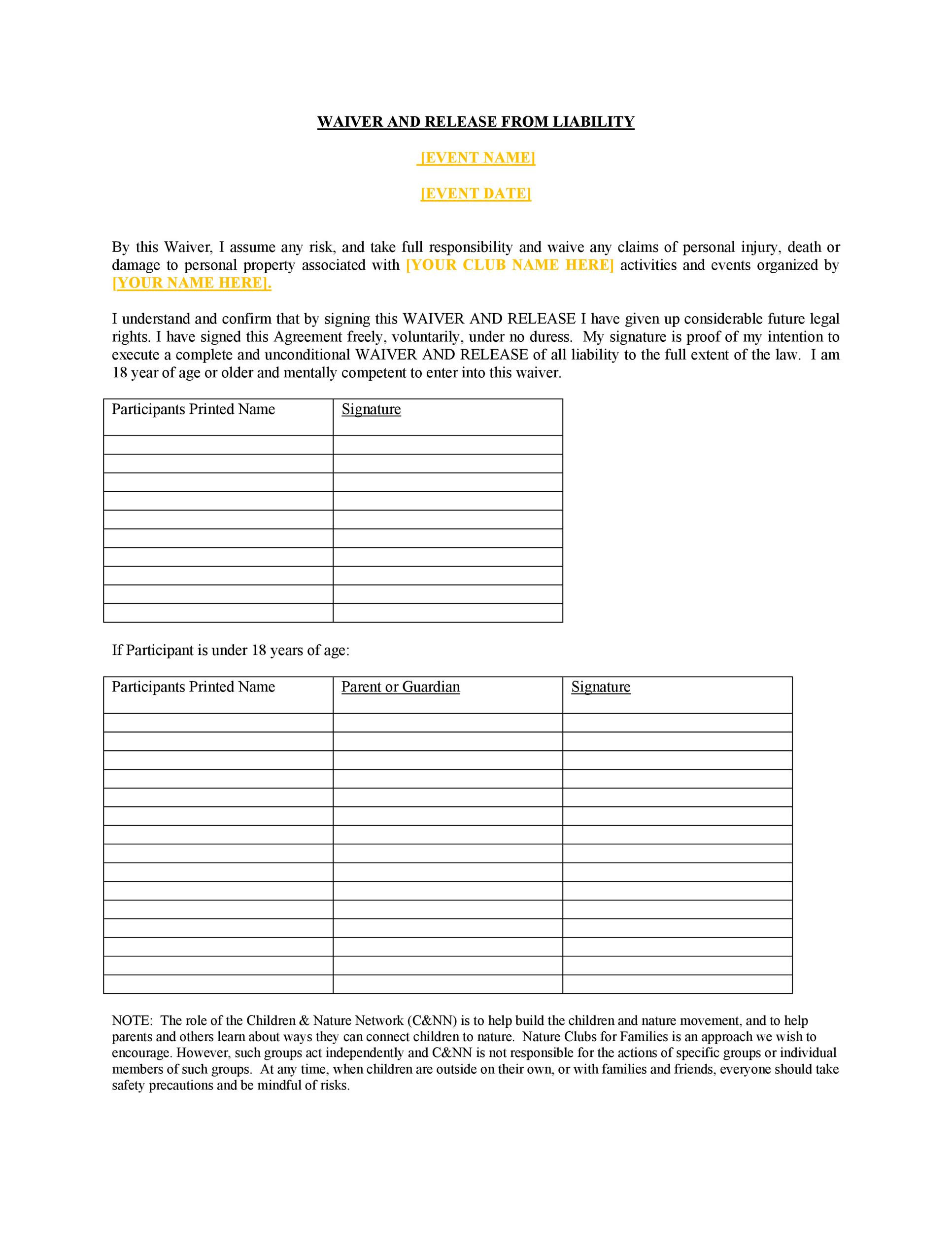General Release form Template