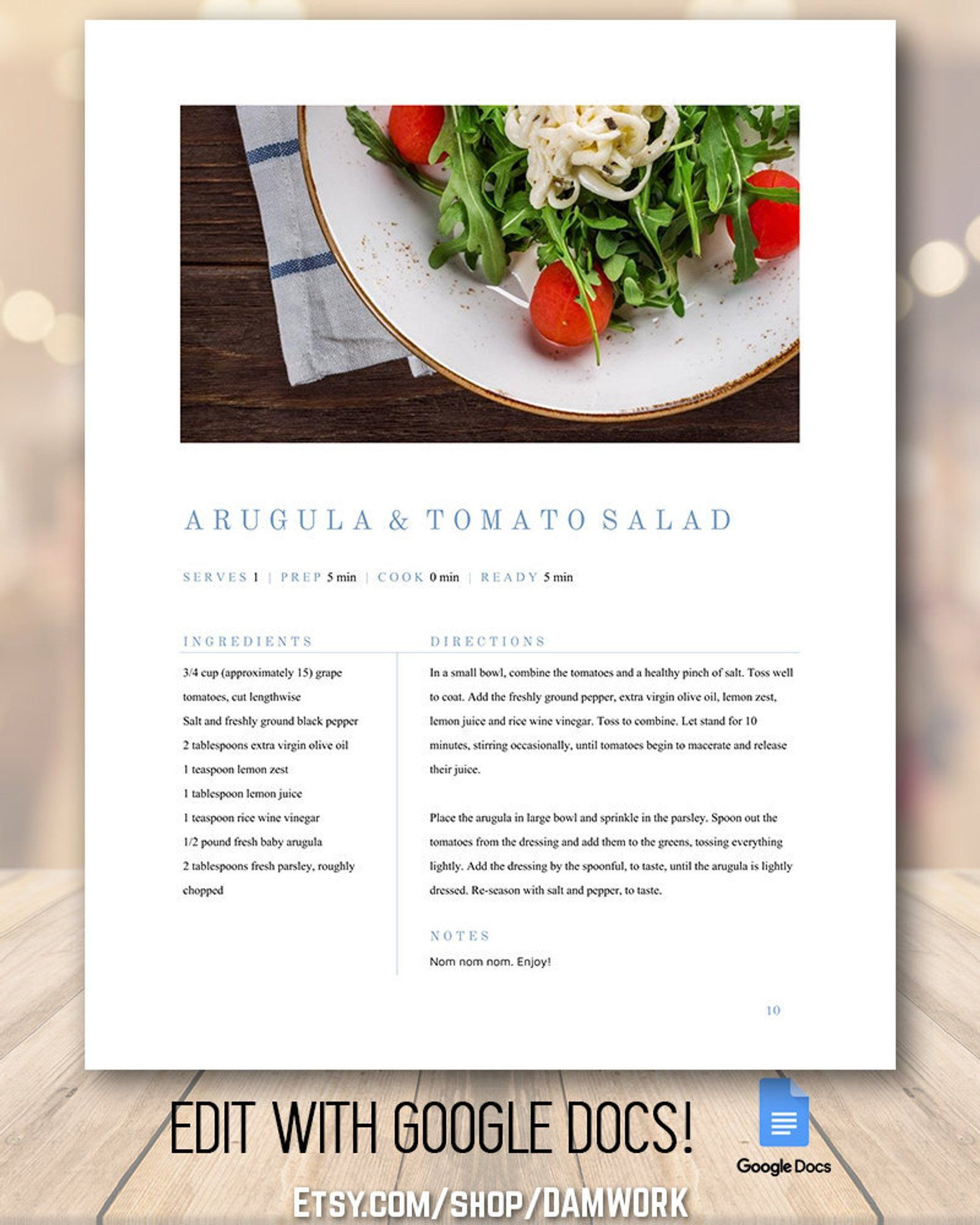 Google Docs Cookbook Template