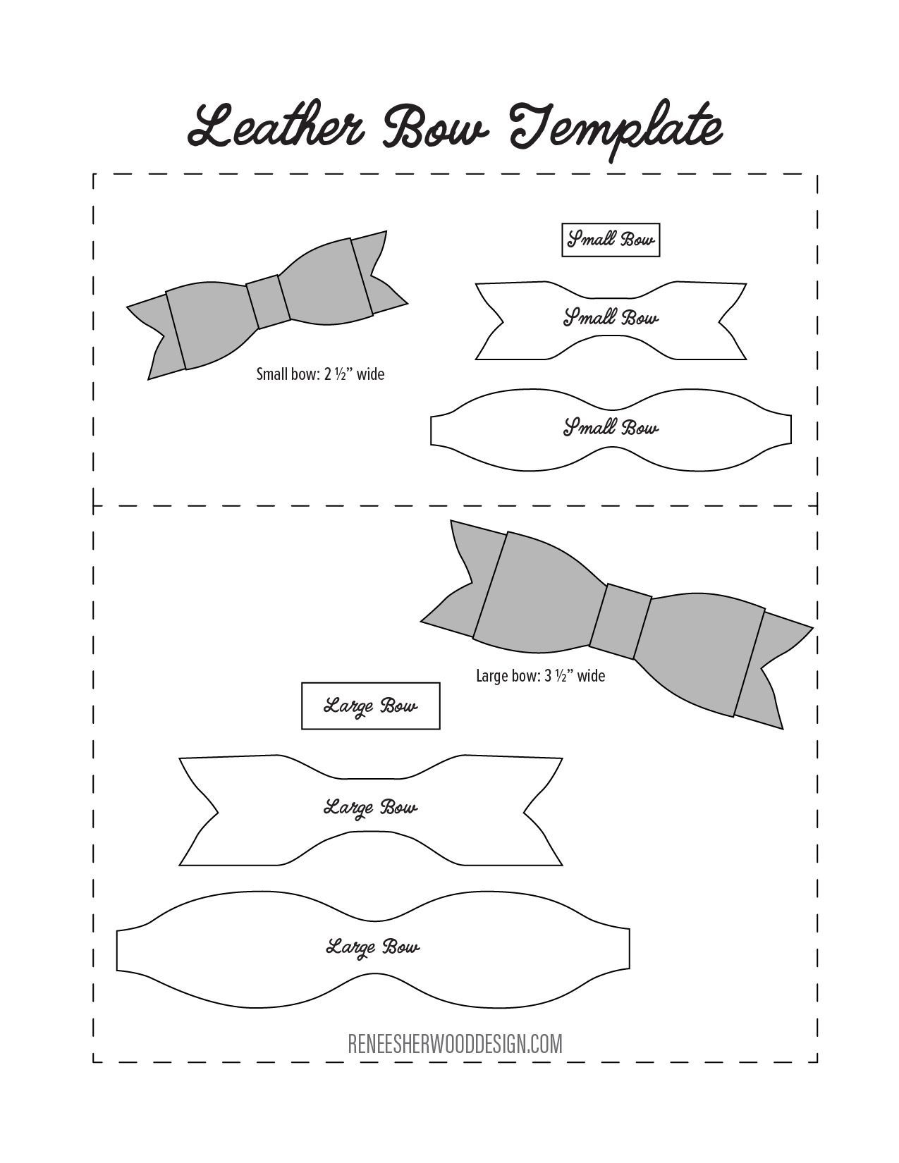 FREE No Sew Leather or Felt Bow Template at