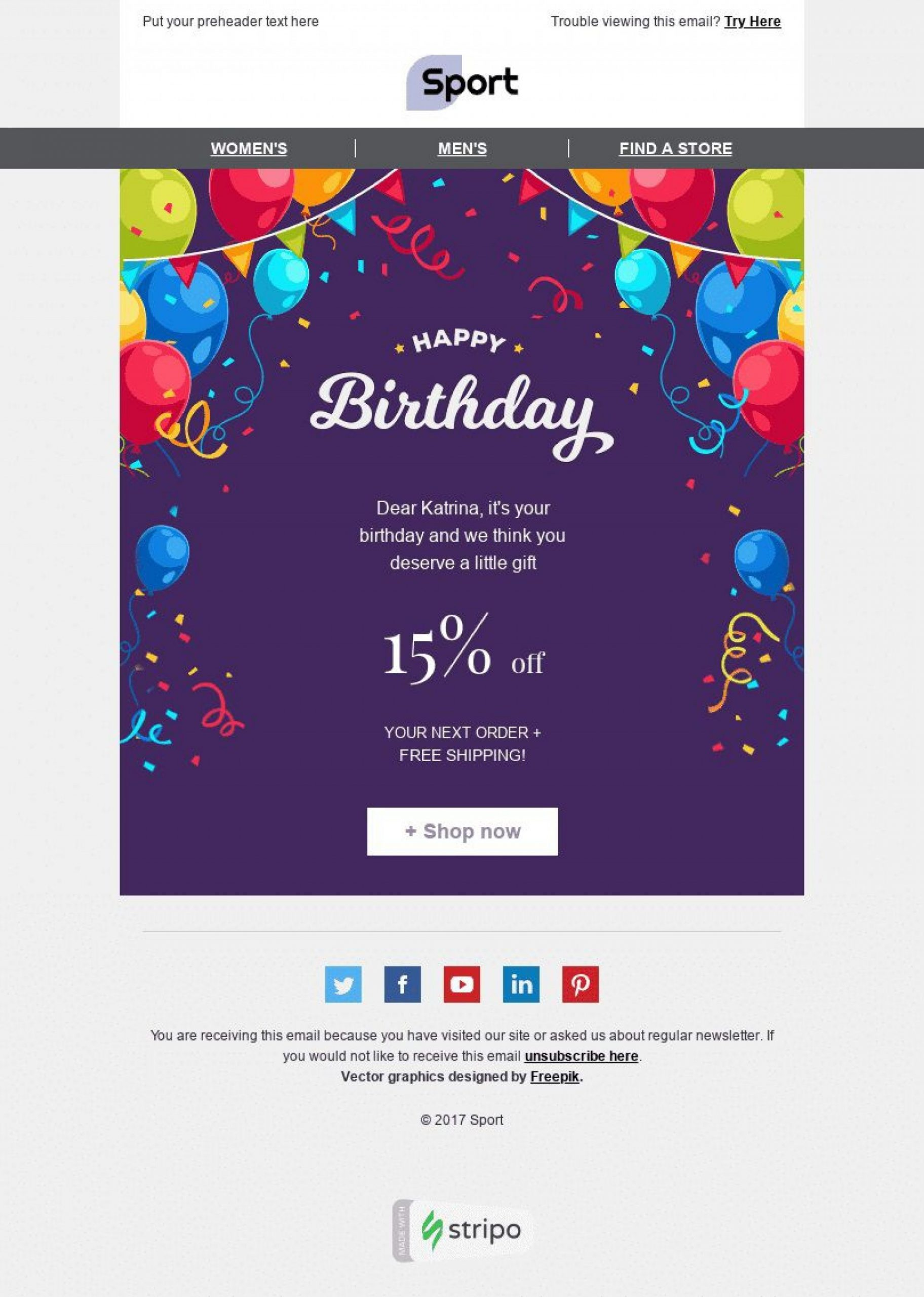 Happy Birthday Email Template Addictionary