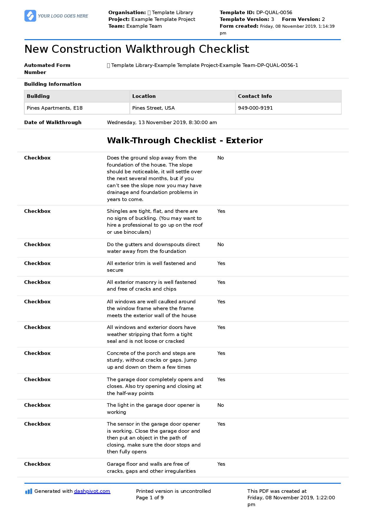 Home Building Checklist Template