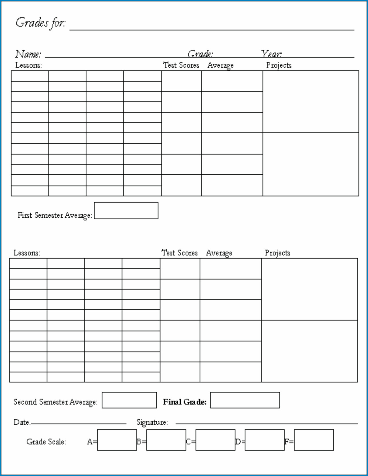 Homeschool Transcript Template Excel