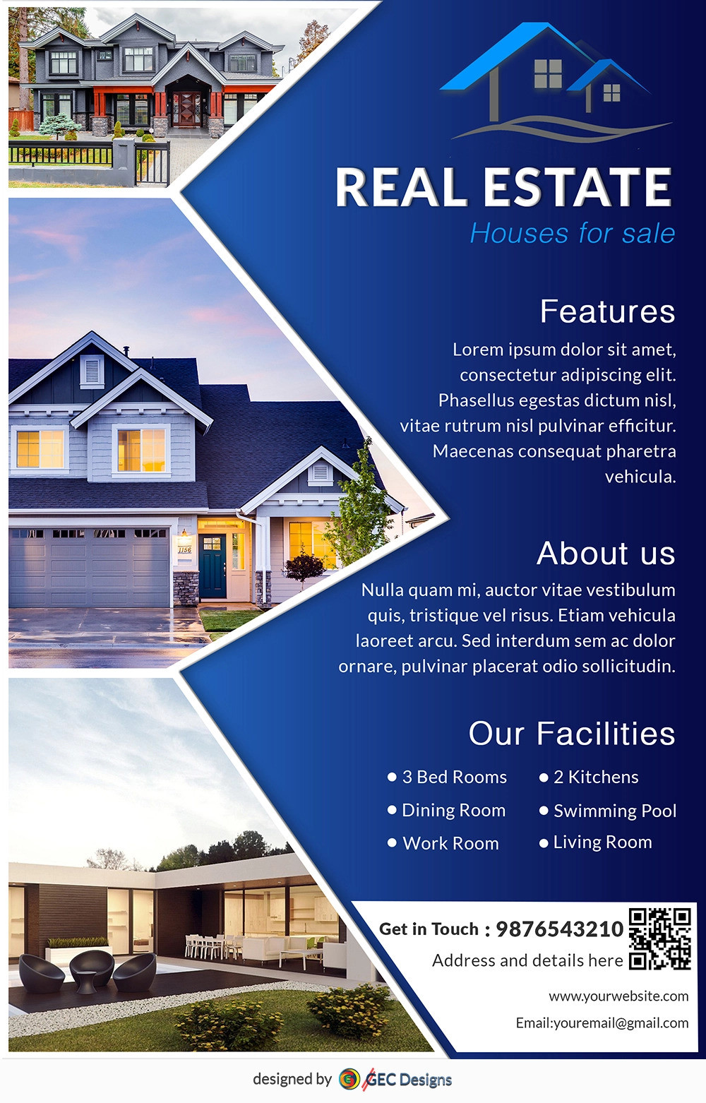 Download Free House for sale Real Estate flyer design templates