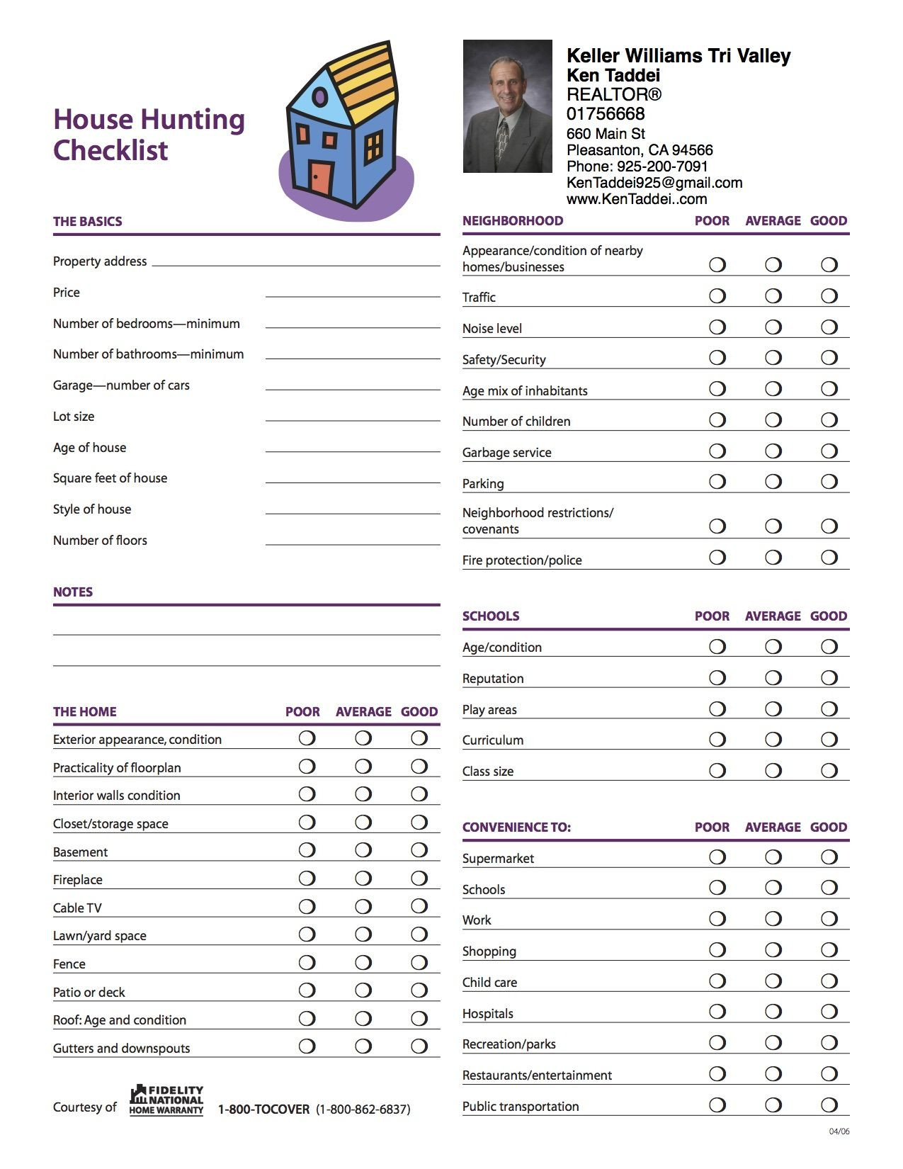 House Hunting Checklist Template
