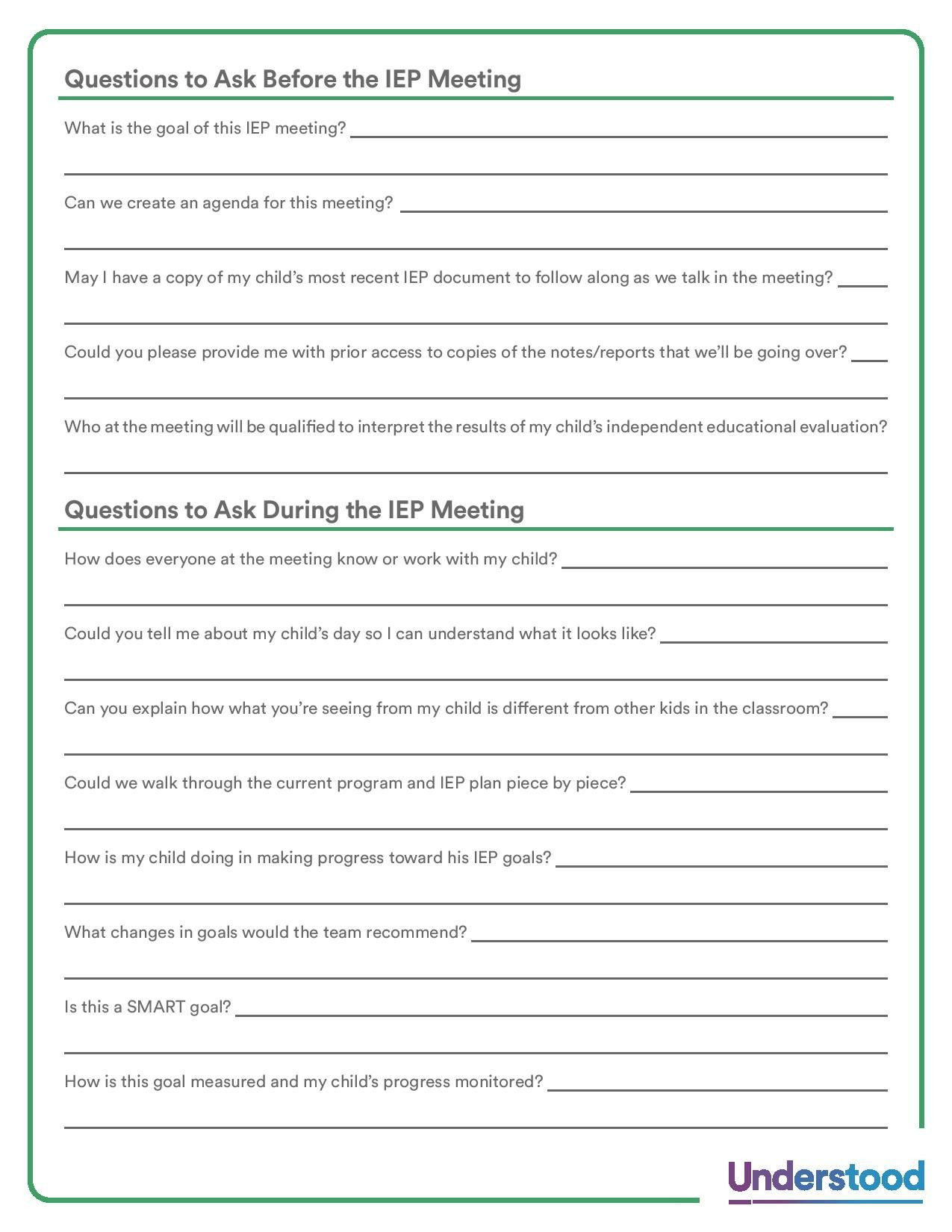 Iep Meeting Notes Template