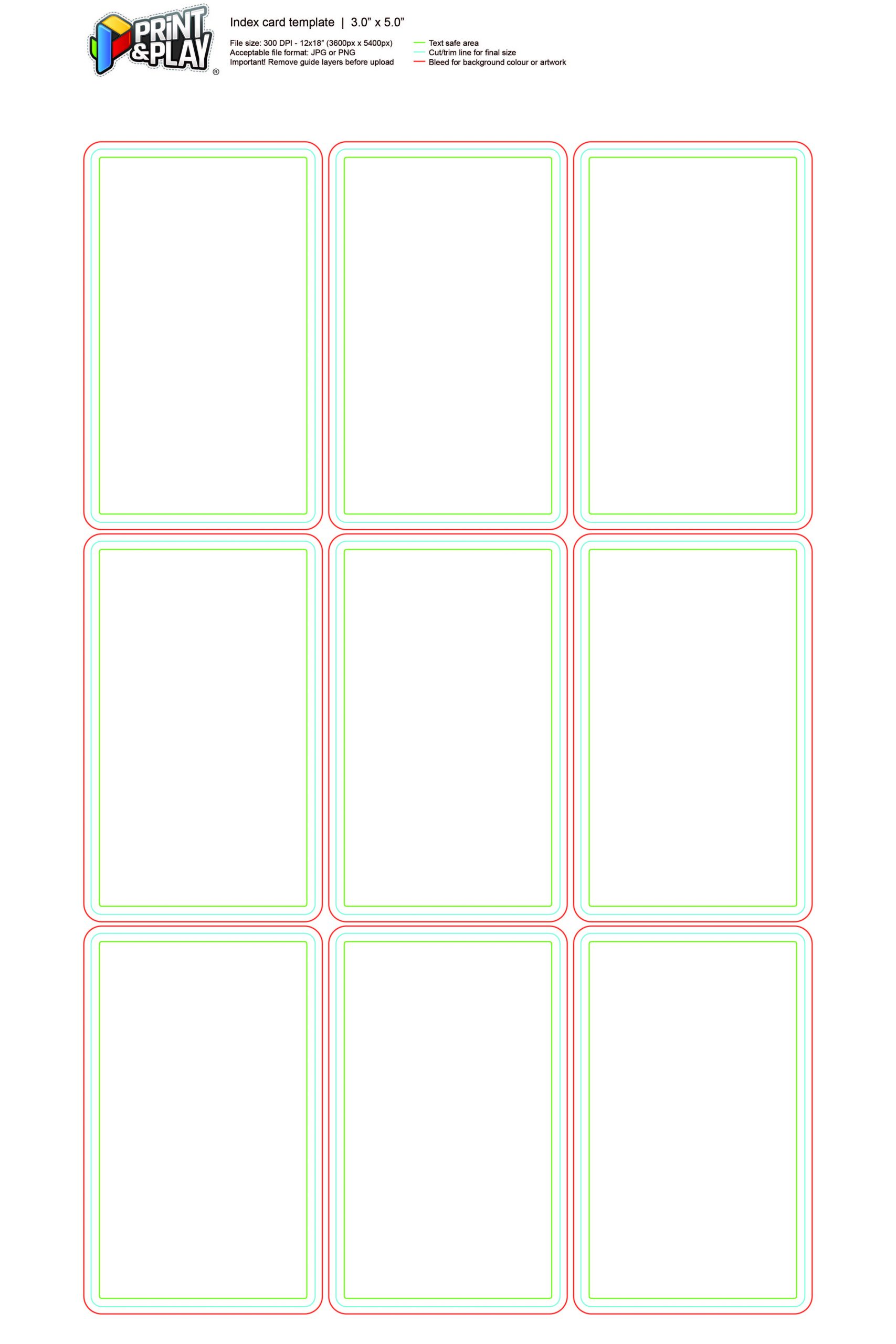 Index Card Template Word