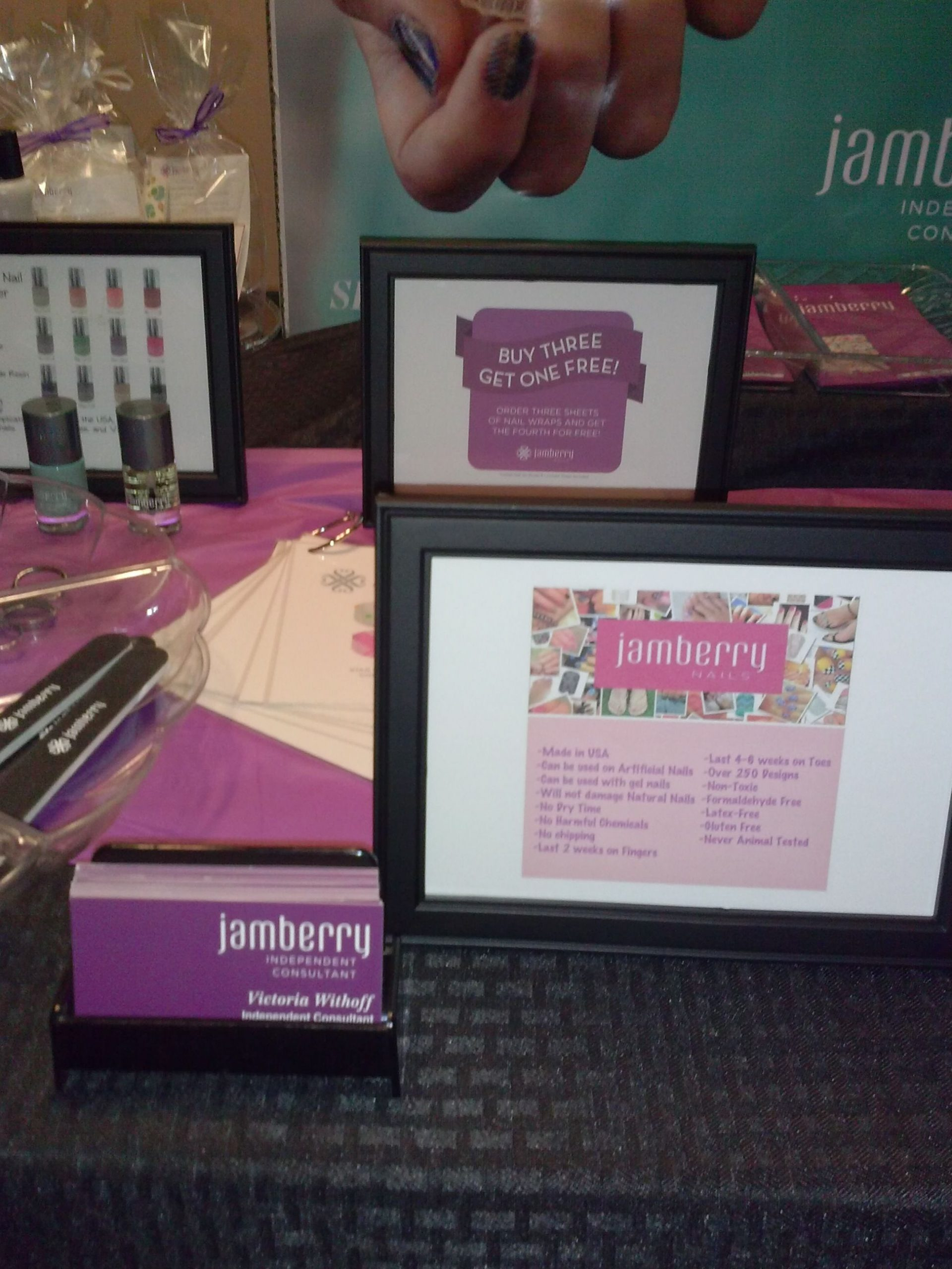 Facts about Jamberry Nails and business cards the left