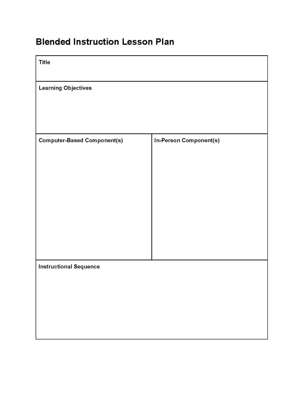 Lesson Plan Template Elementary
