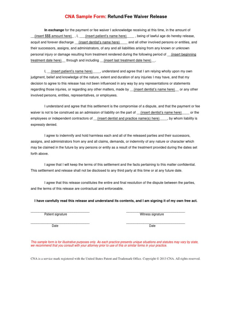 Liability Waiver form Template