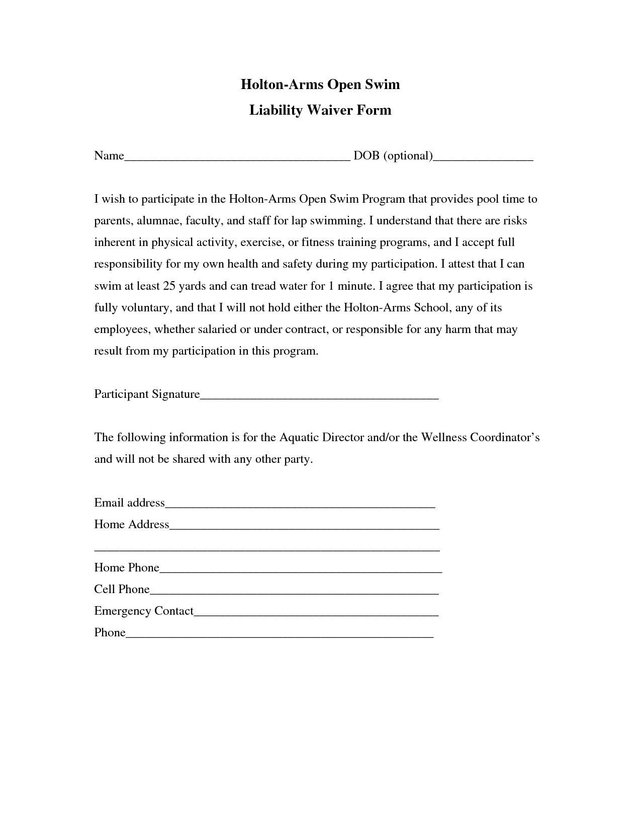 General Liability Waiver form Template Lovely Liability