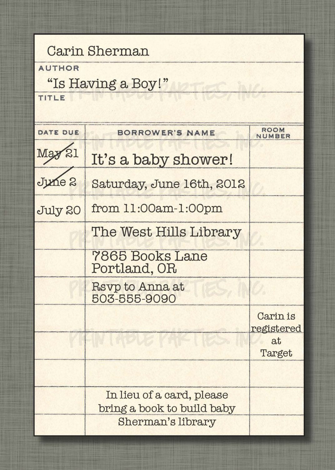 Library Card Invitations Template