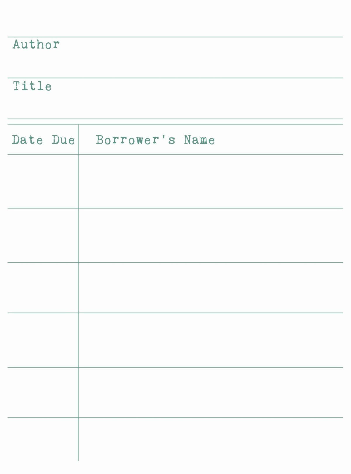 Library Checkout Card Template New Free Library Cards for