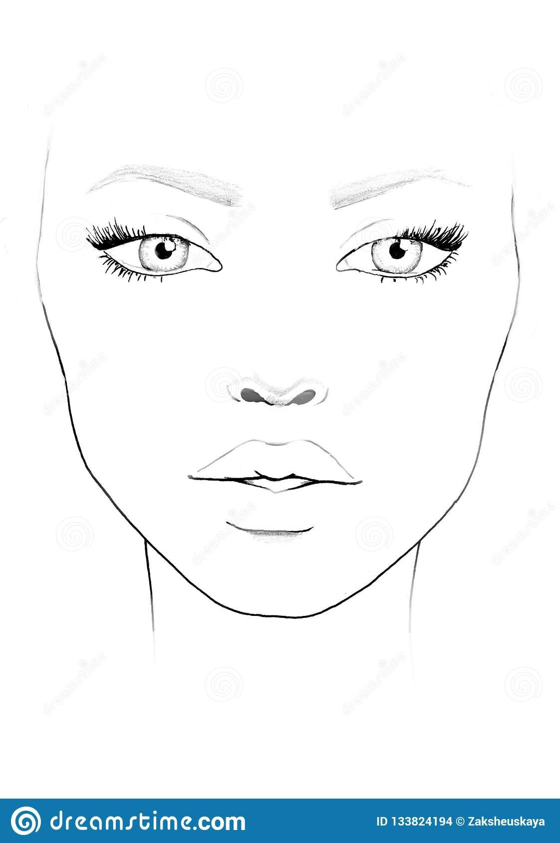 Blank Face Chart To Print Face Chart Makeup Artist Blank in
