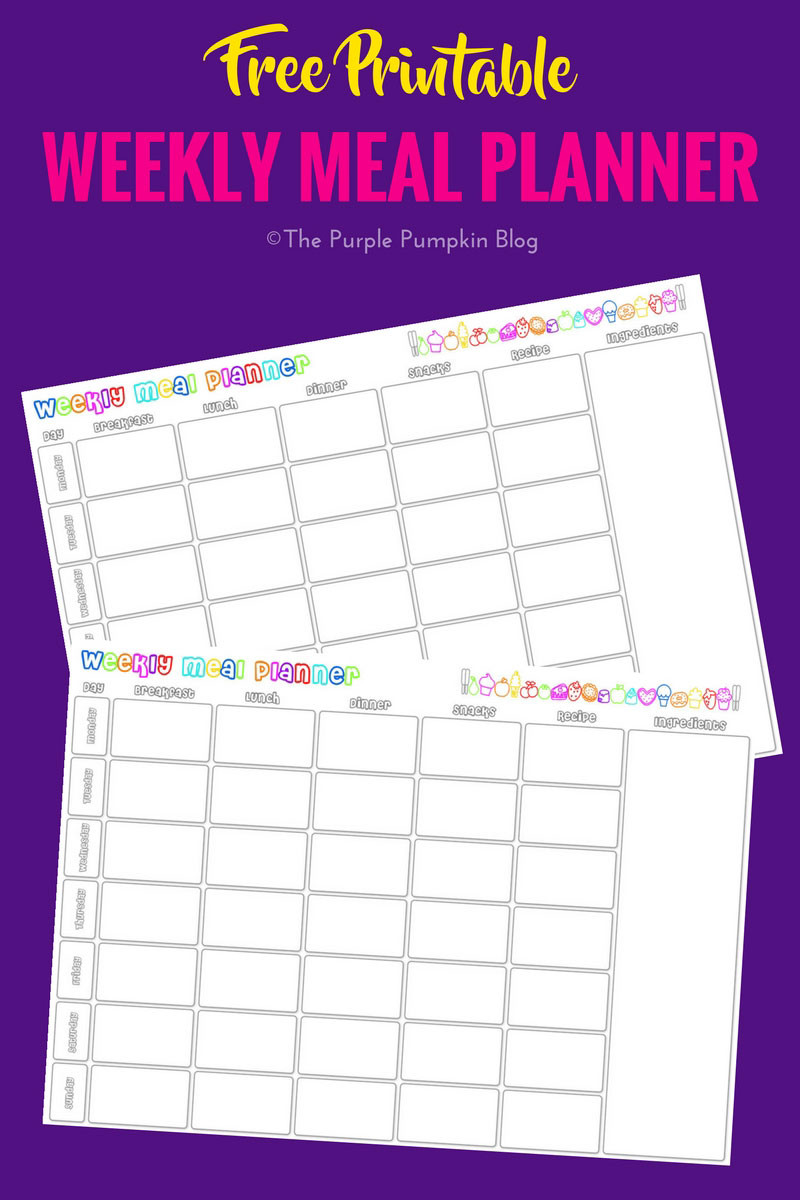 Meal Plan Template Free