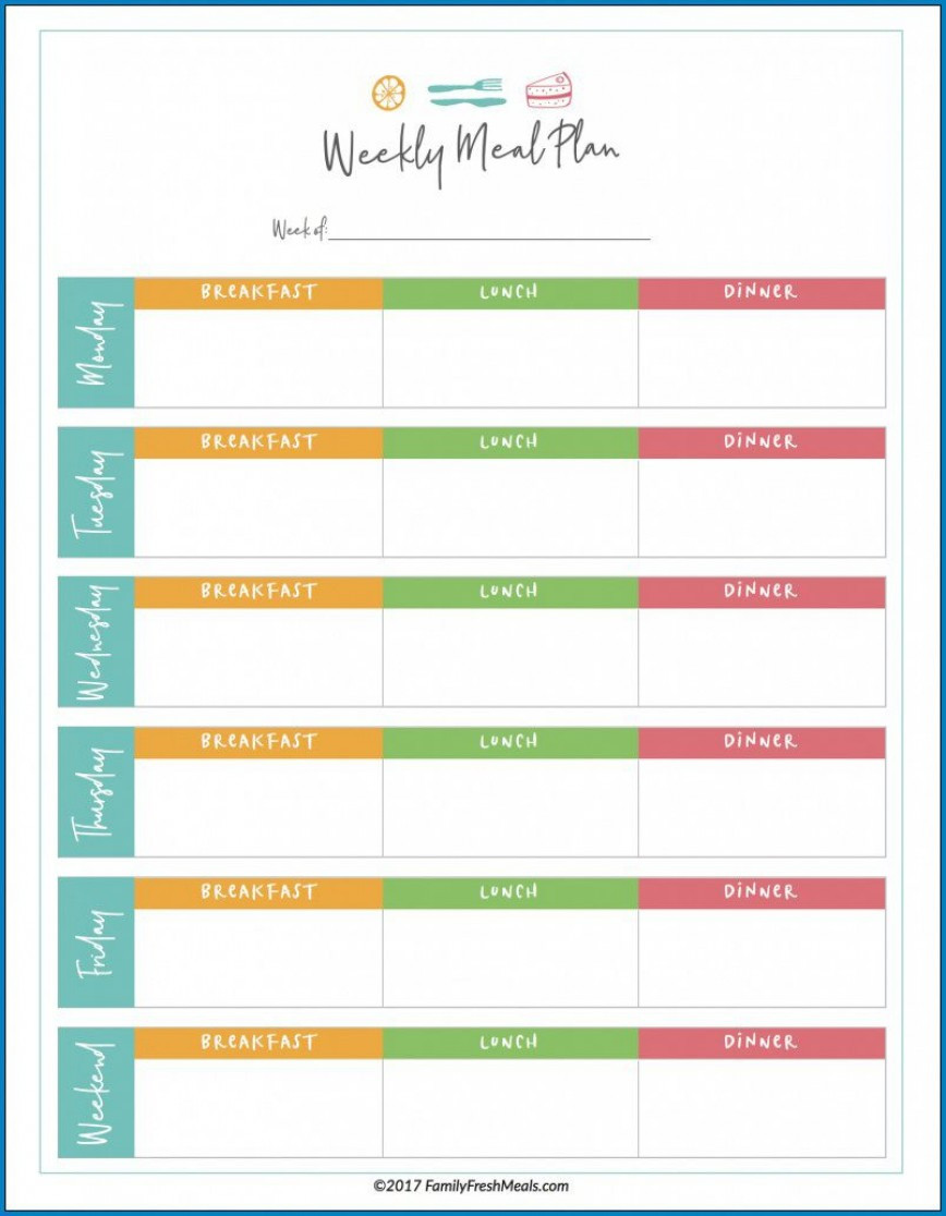 Meal Plan Template Word