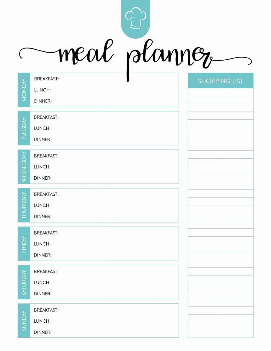 Weekly Meal Planner Template Word Inspirational Printable