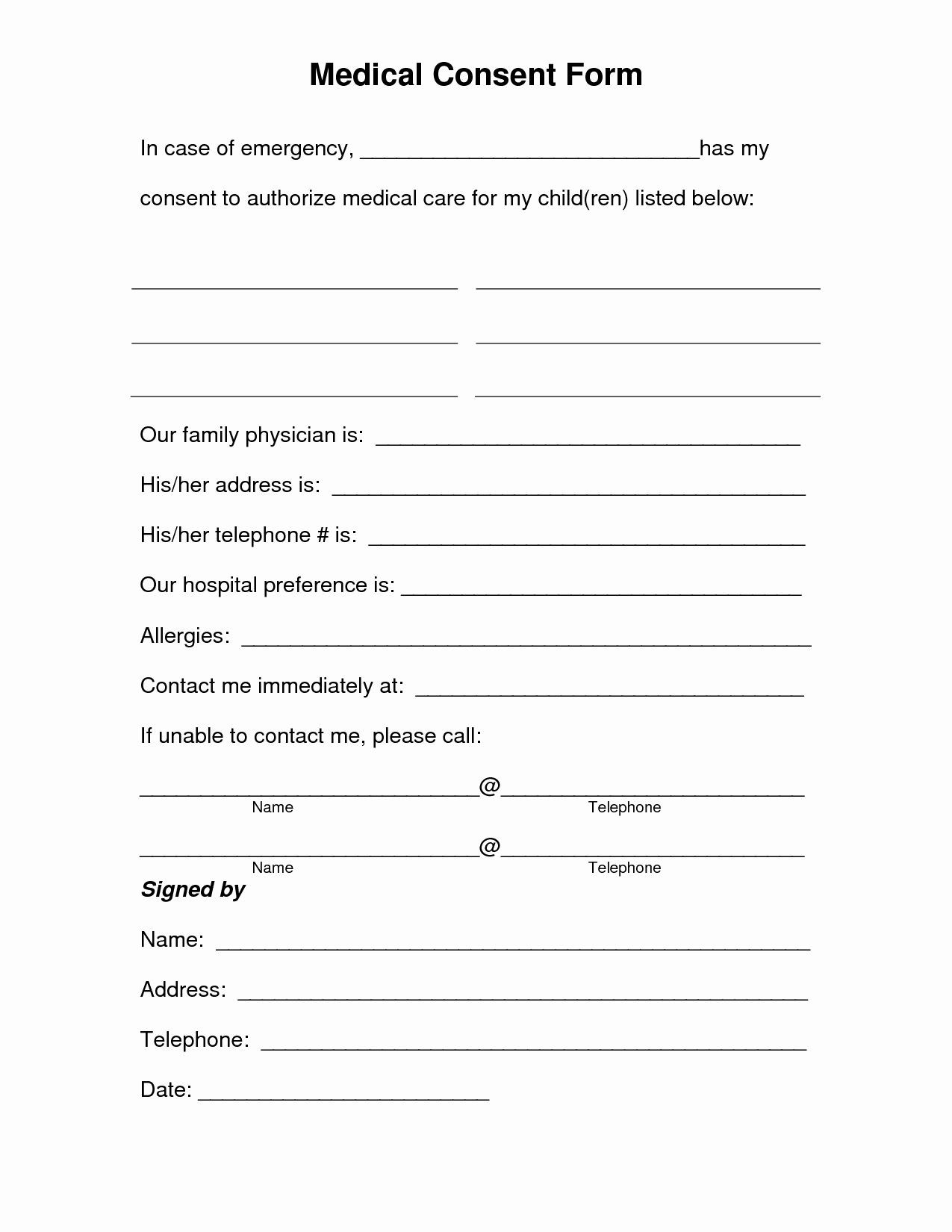 Medical Procedure Consent form Template Best Free