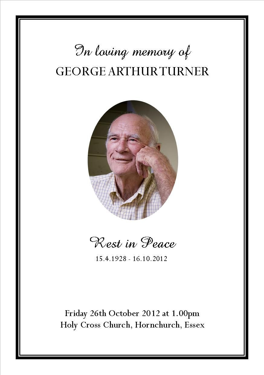 A5 funeral order of service cover …
