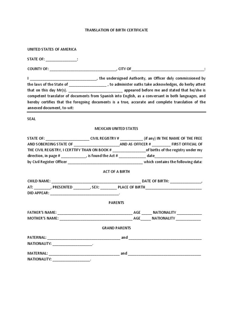 Mexican Birth Certificate Template