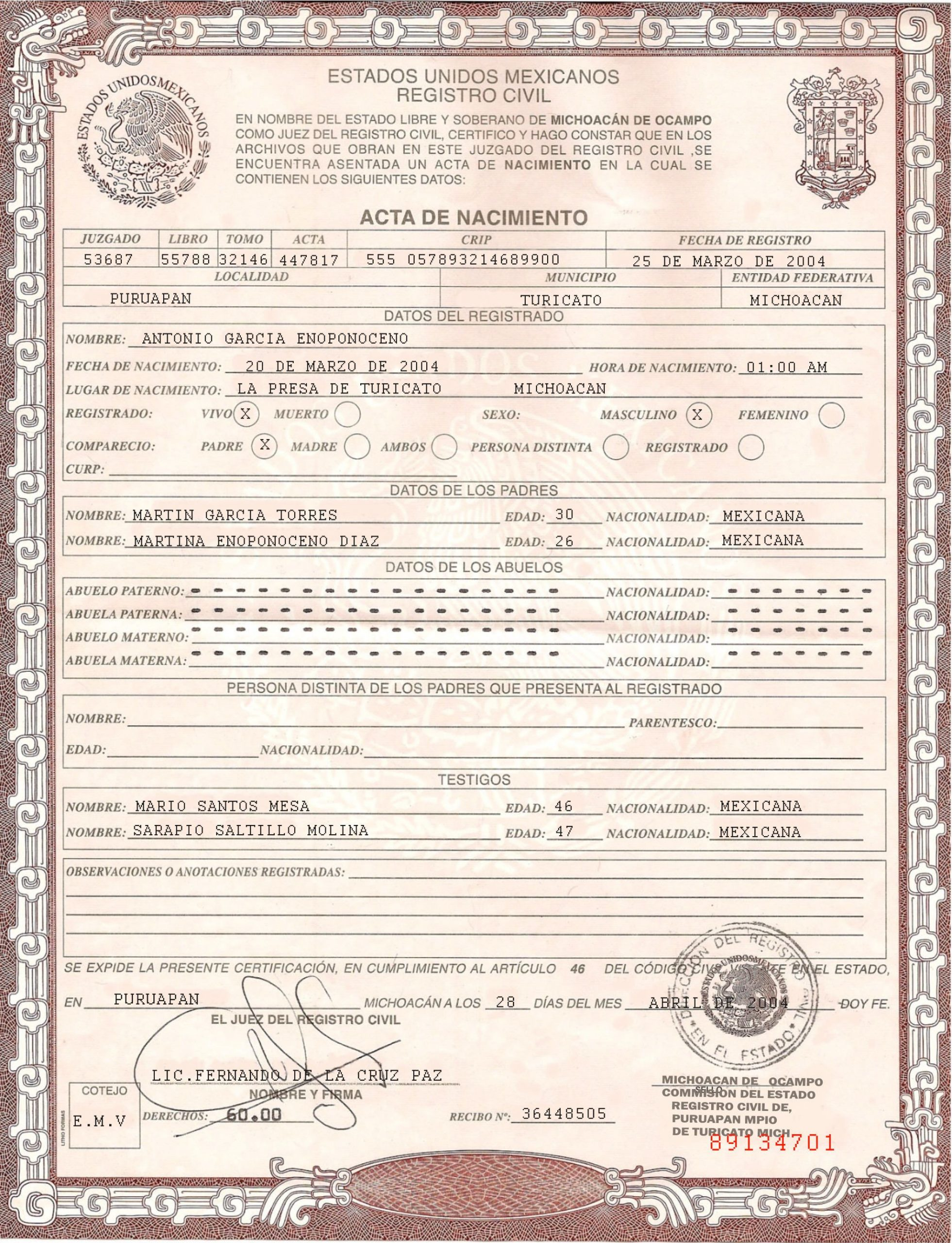 This is Mexican Birth Certificate PSD shop Template