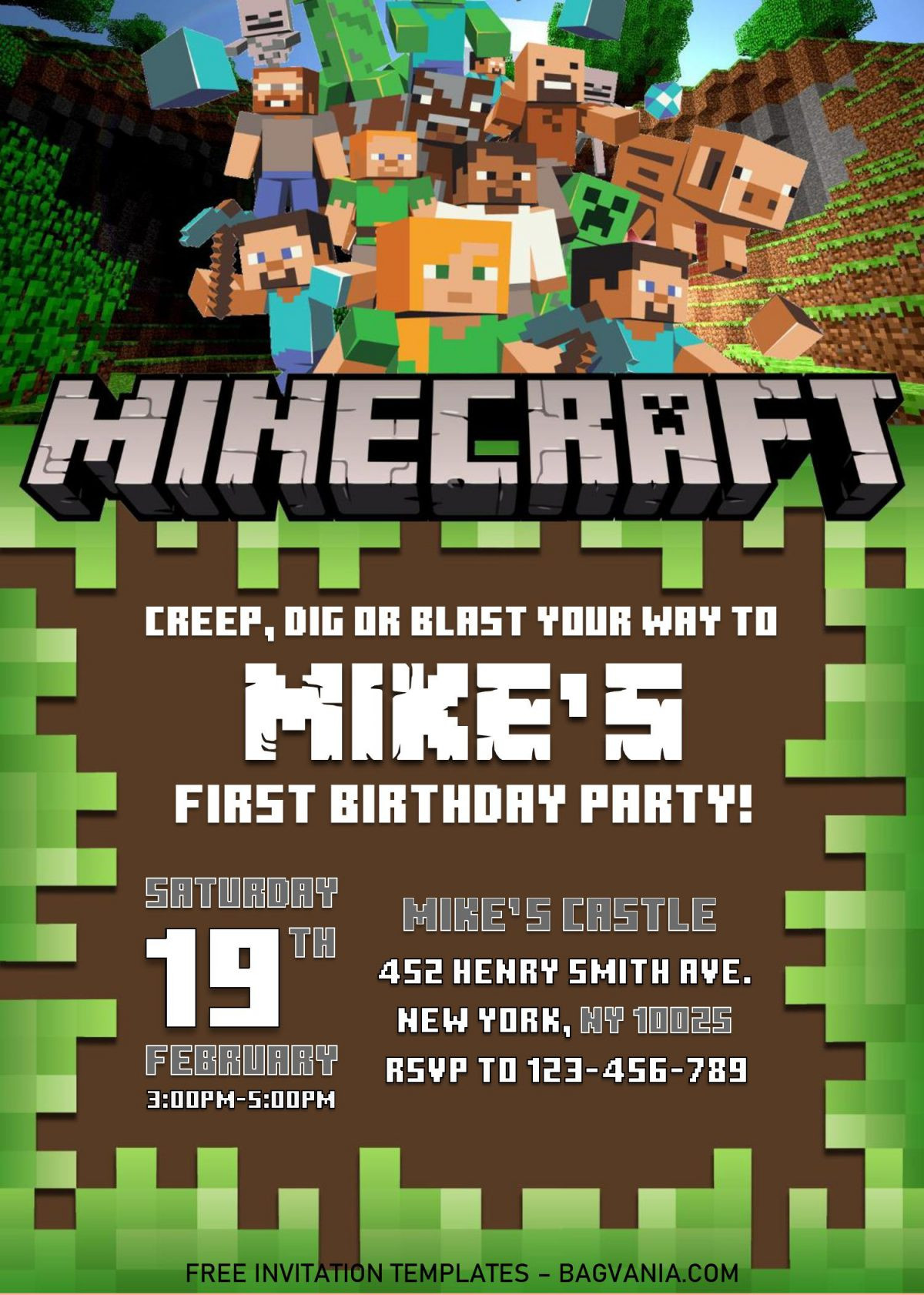 Minecraft Birthday Invitation Template