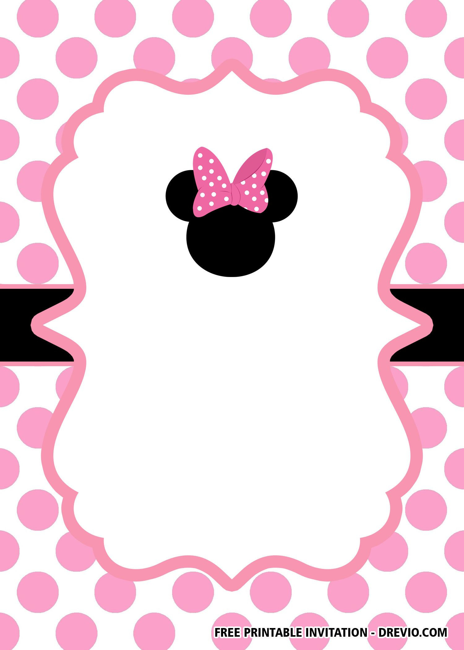 FREE Minnie Mouse Head Pink Invitation Templates