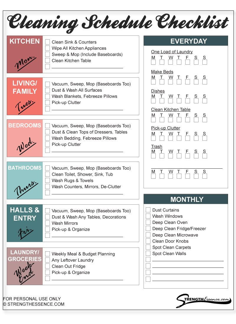 Monthly Cleaning Schedule Template