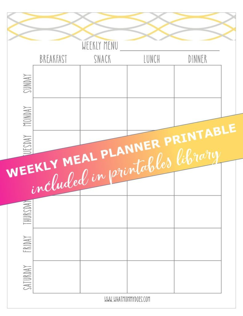 Monthly Dinner Menu Template