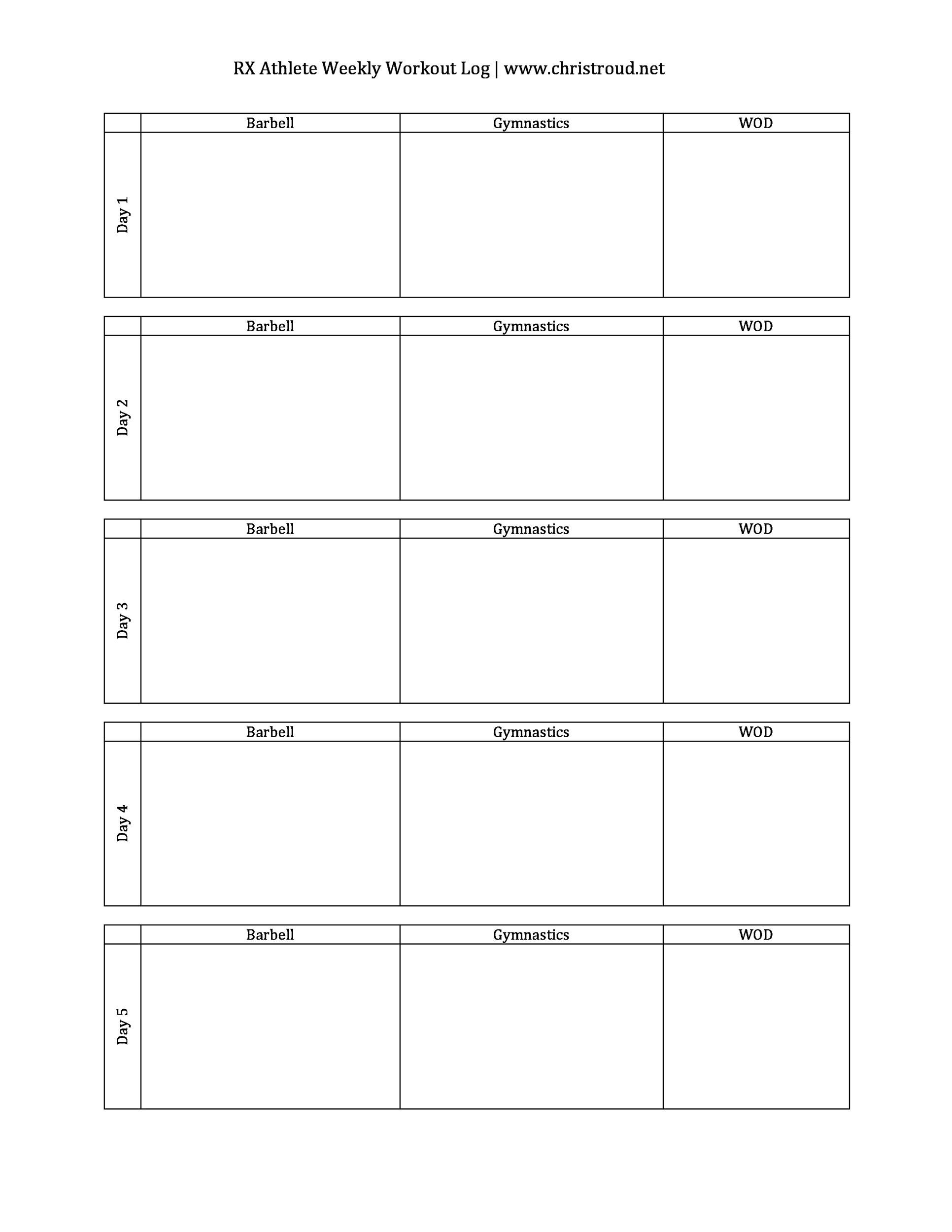 Monthly Workout Schedule Template