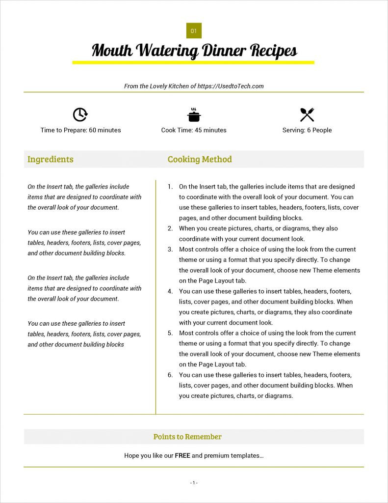 Best looking full page recipe card in Microsoft Word Used