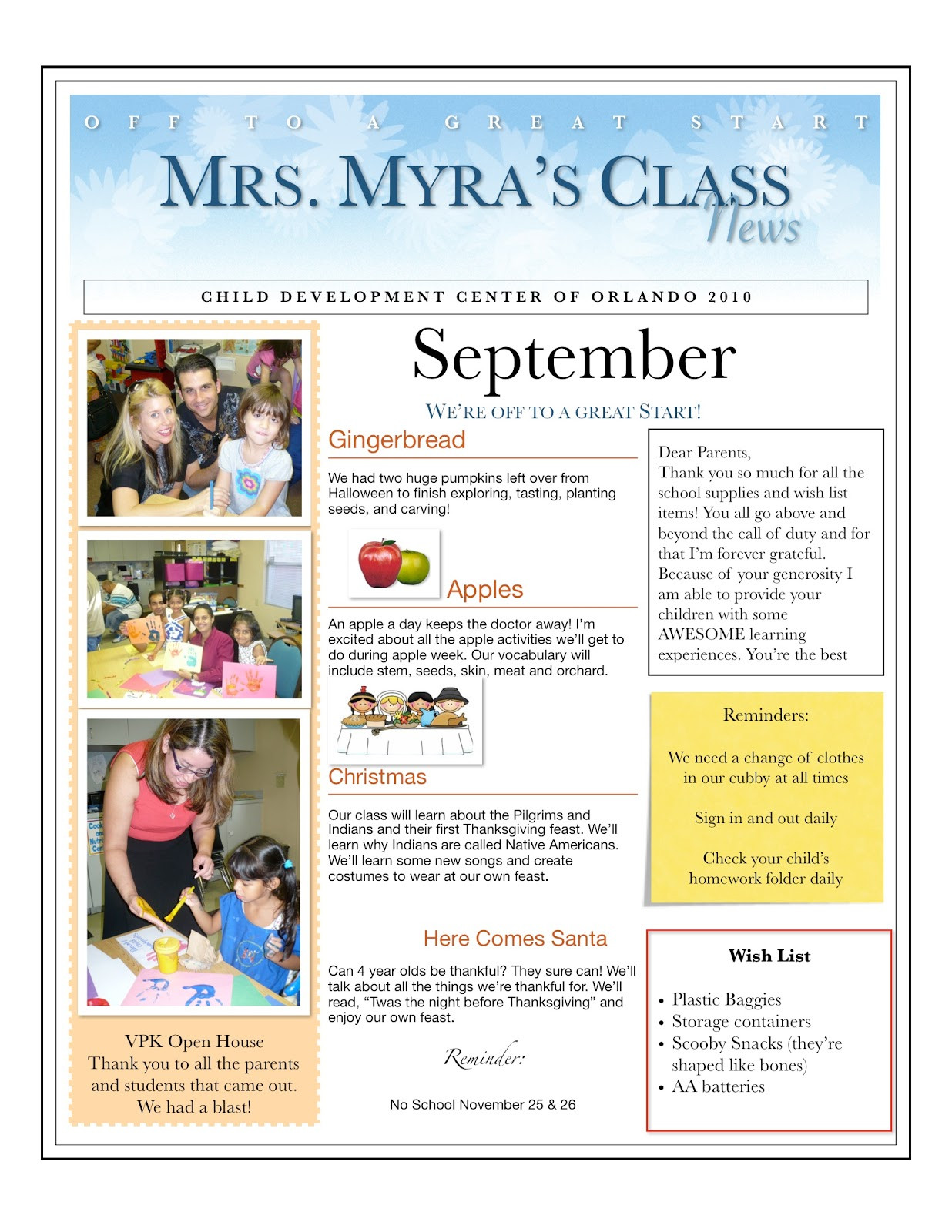 Newsletter Template for Preschool