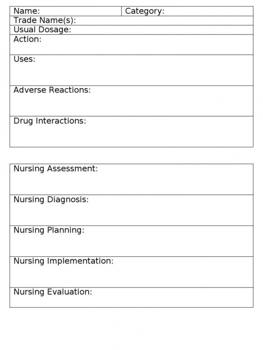 The amazing Staggering Nursing Drug Card Template Ideas