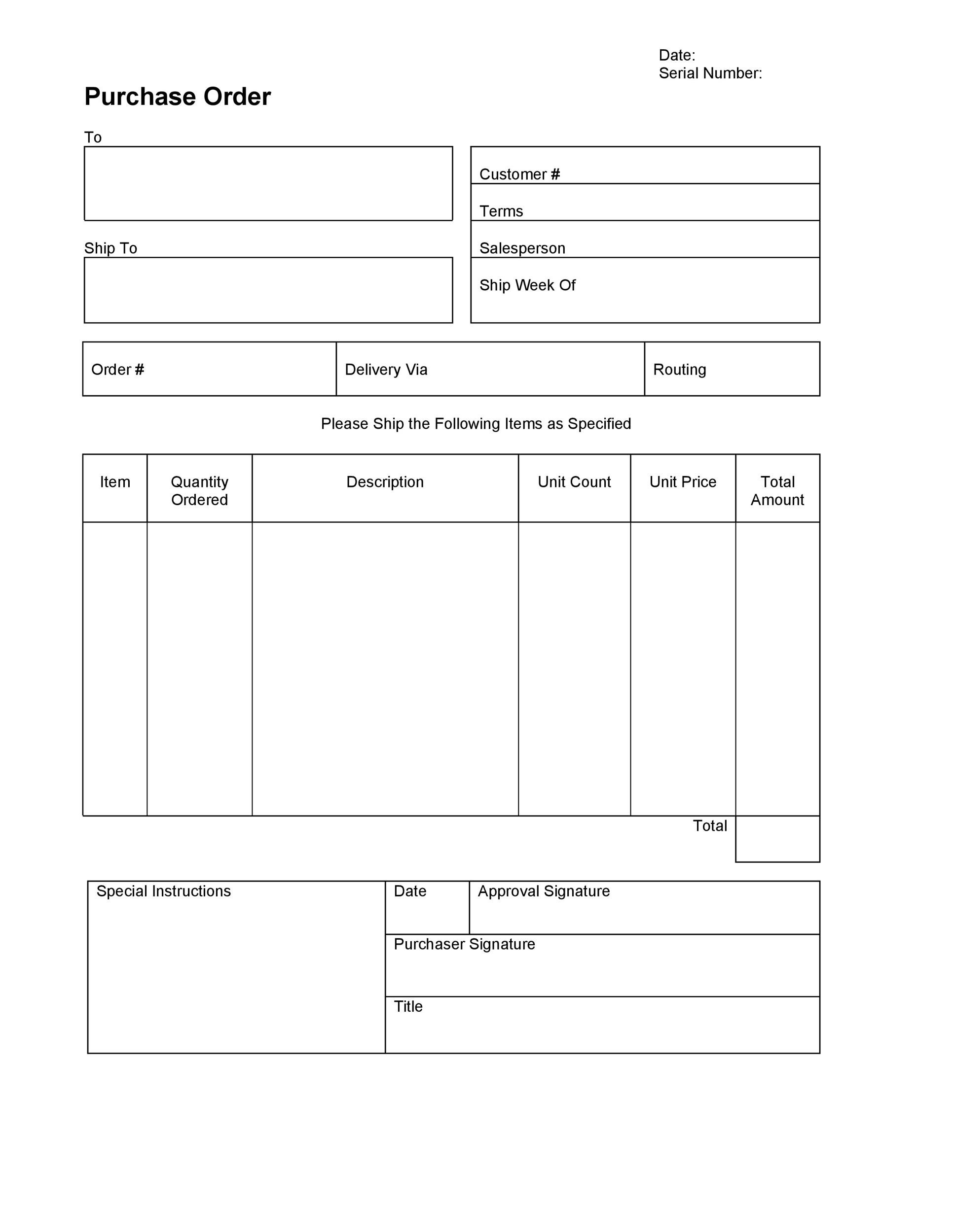 Ordering form Template Excel