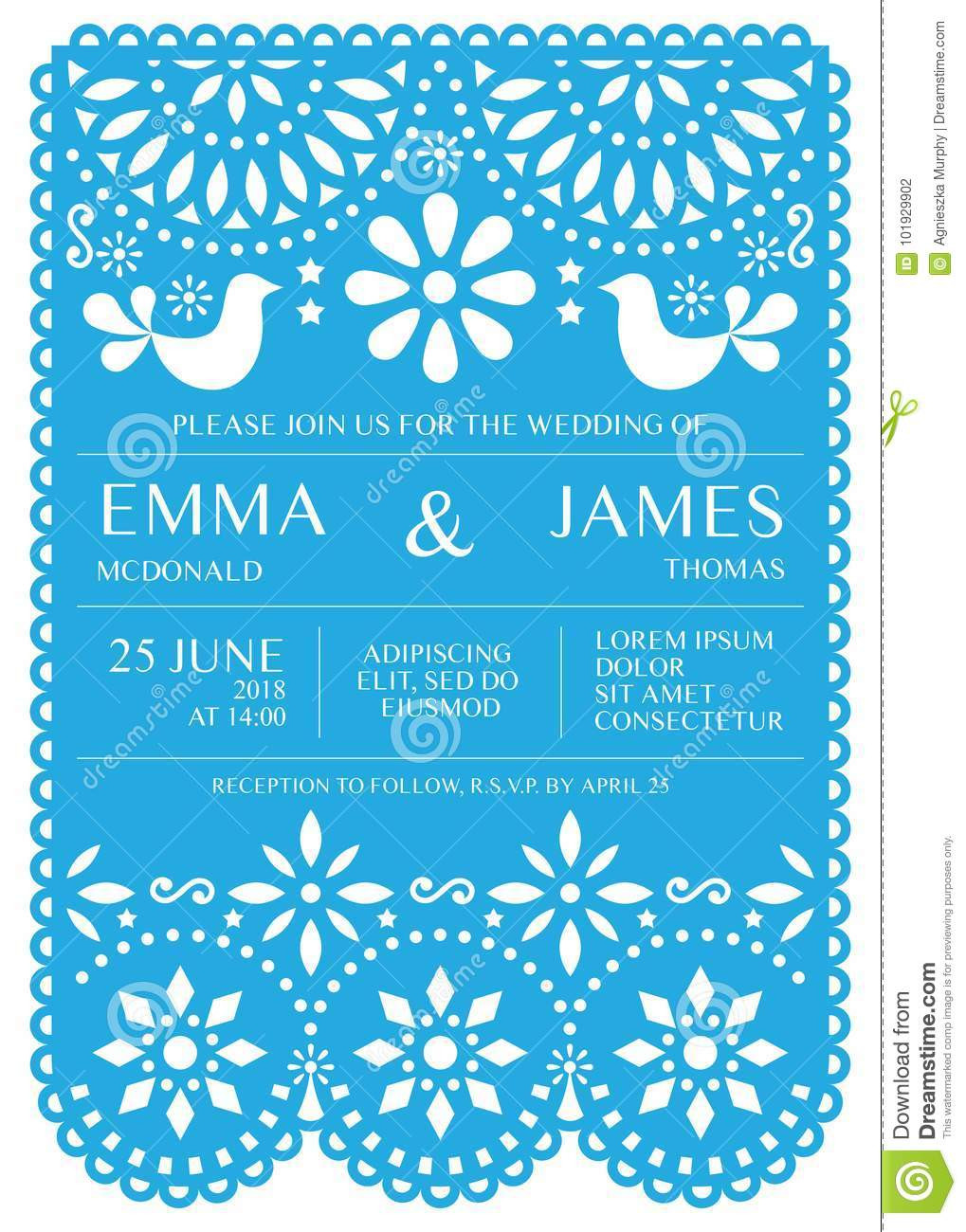 Papel Picado Invitation Template
