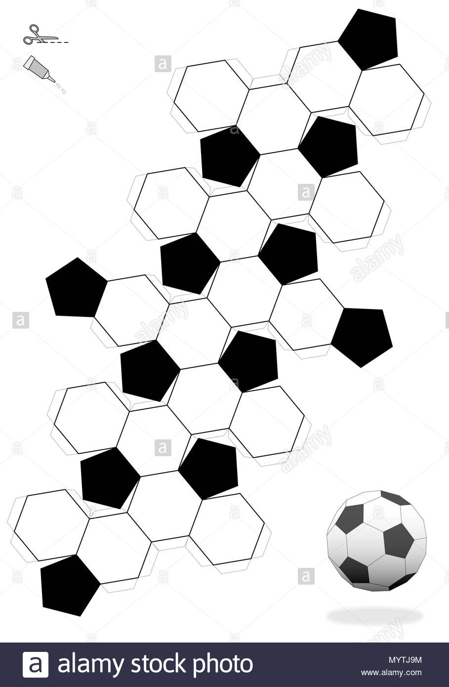 Truncated Icosahedron Soccer ball template for making a 3d