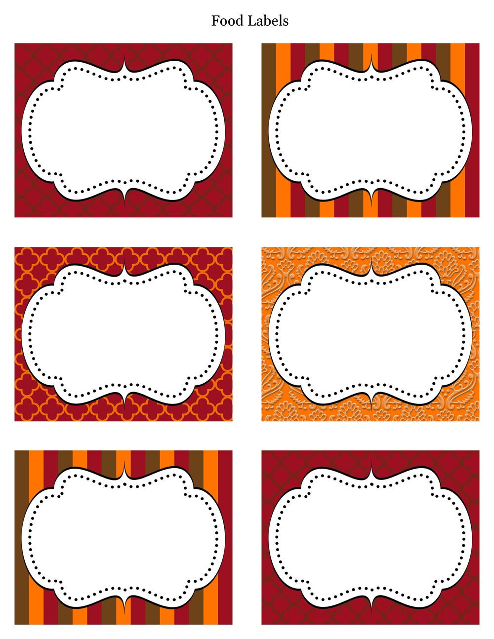 Free Printable Labels & Tags For food buffet Just printed