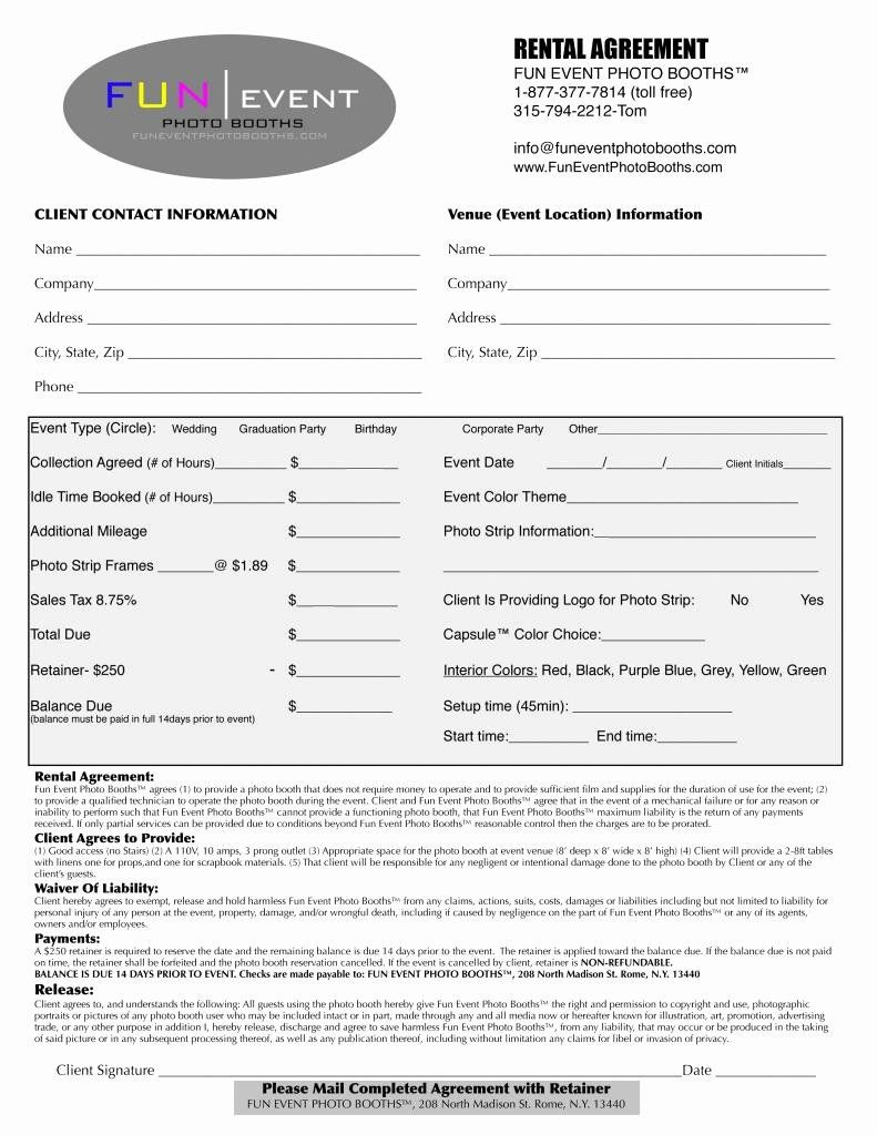 Party Rental Contract Template in 2020