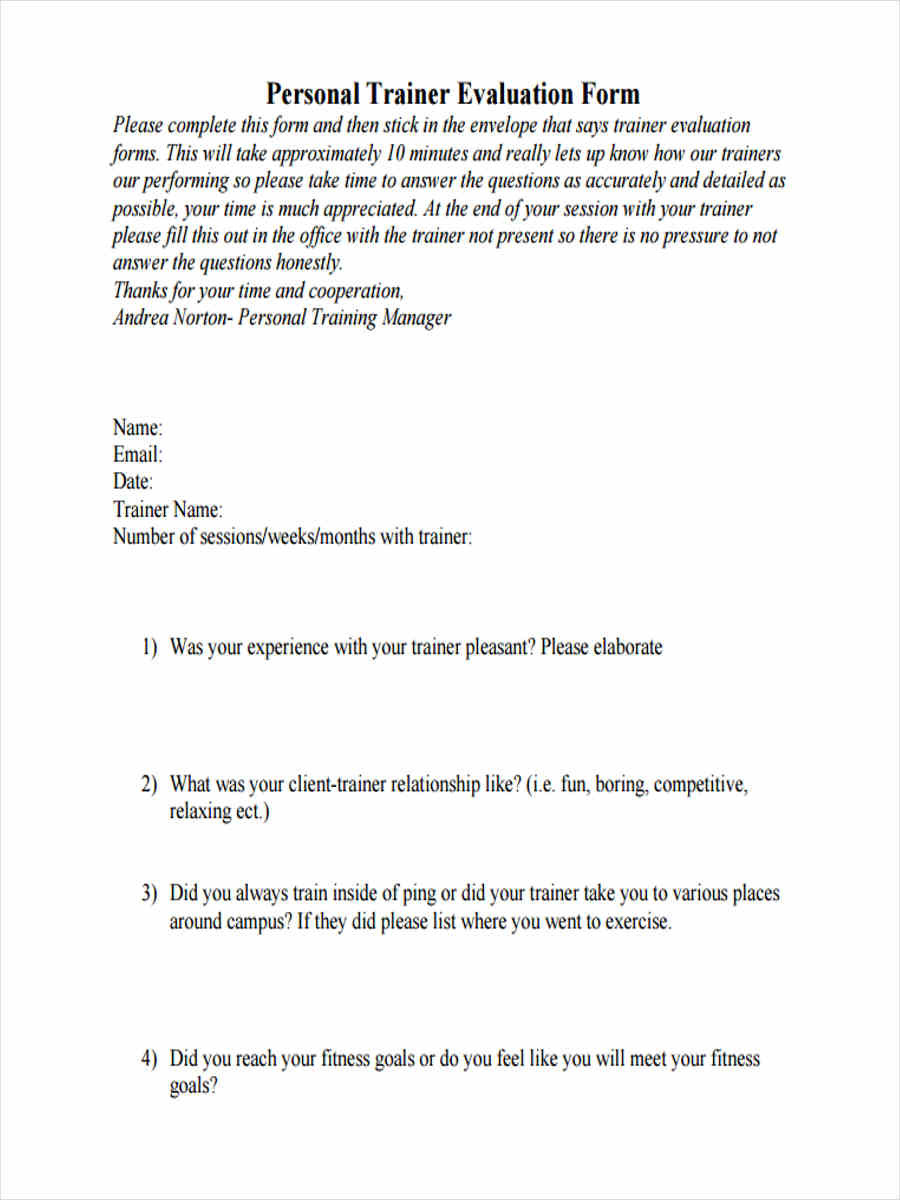 Personal Training Contract Template
