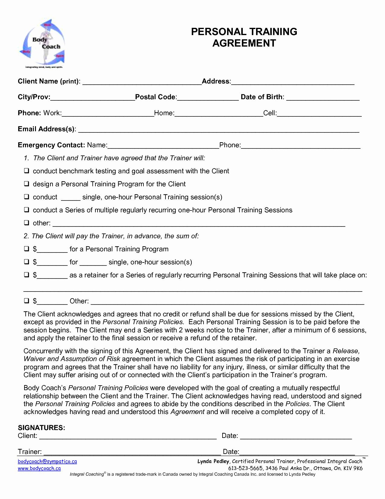 Personal Training Contracts Template
