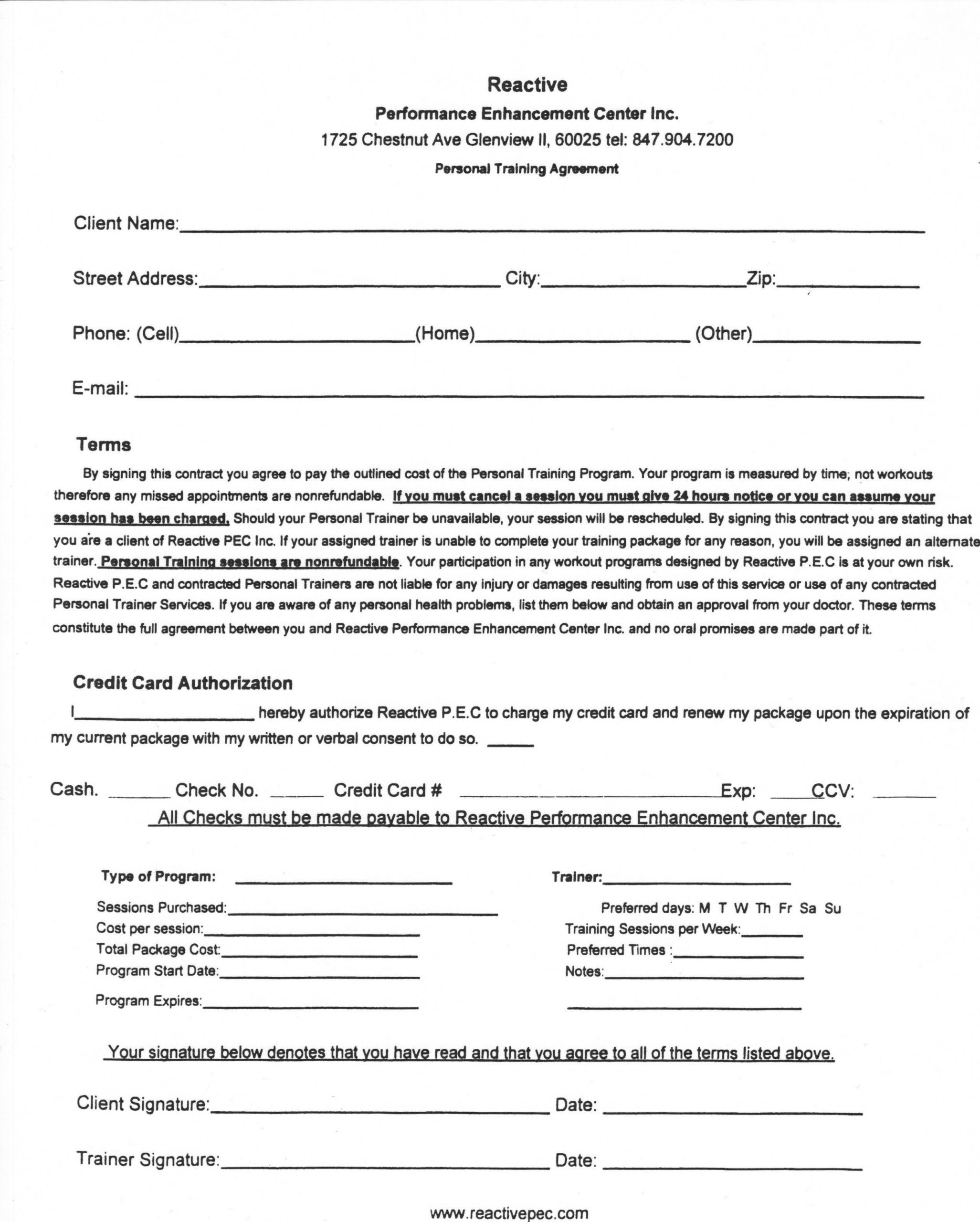 Personal Training Contract Template Addictionary