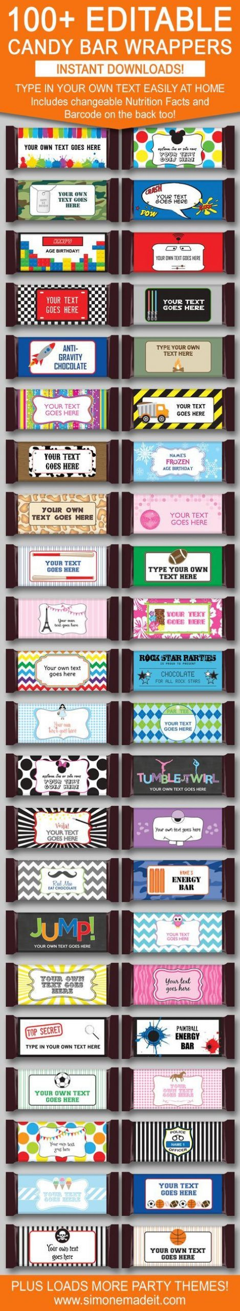 DIY Candy Bar Wrapper Templates – personalized candy bars