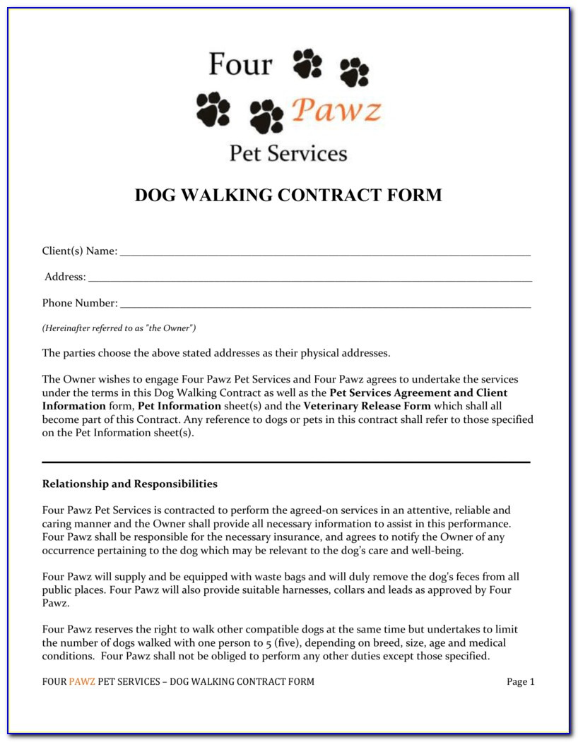 Pet Sitting form Template