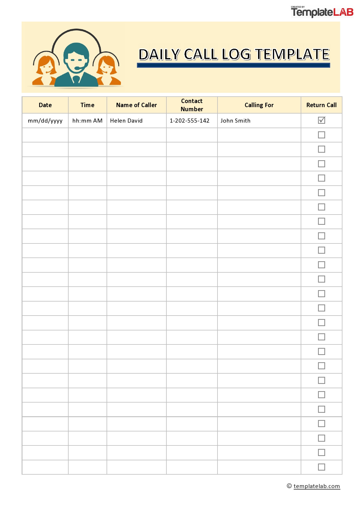 Phone Call Log Template