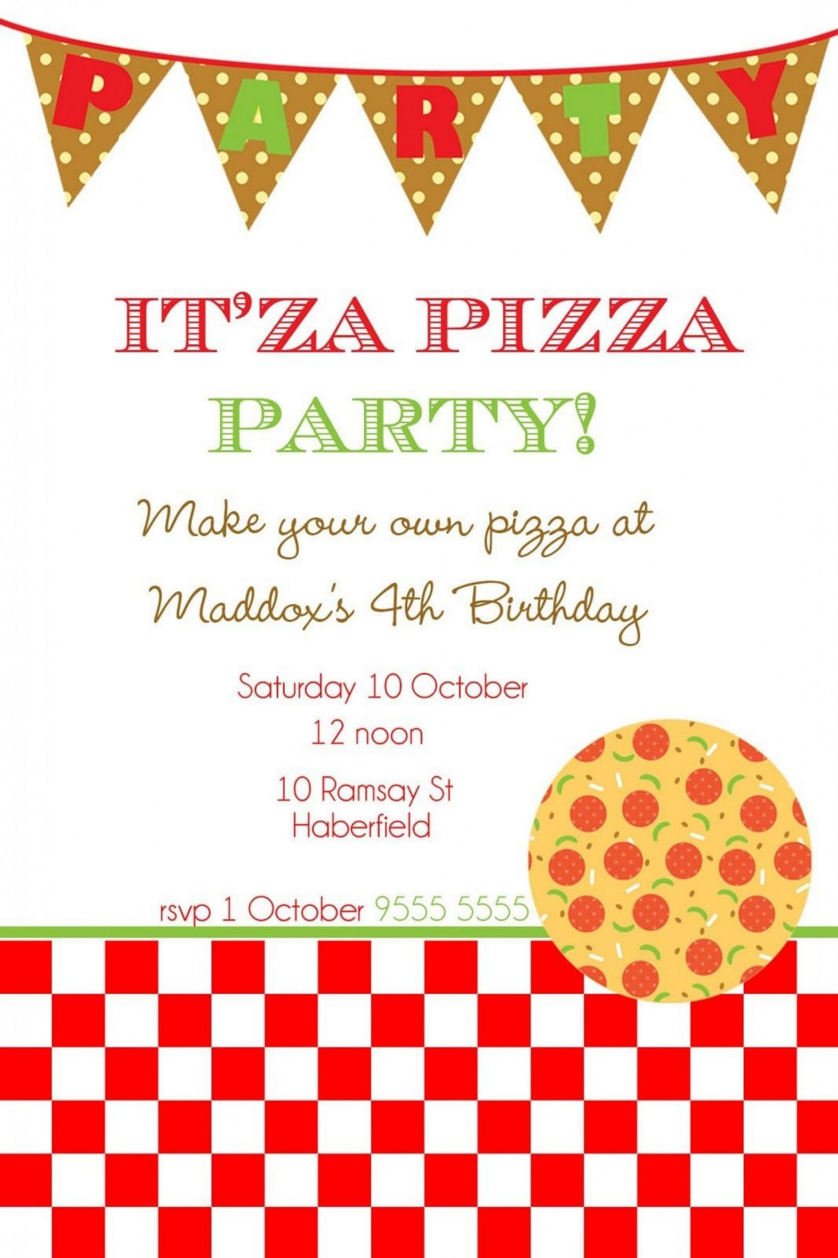 Pizza Party Invite Template