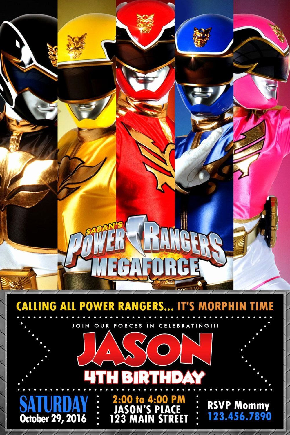 35 Power Rangers Birthday Invitation Template in 2020 With