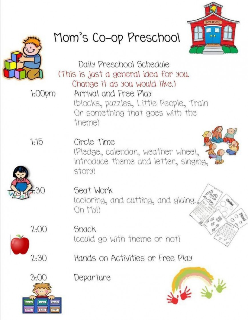 Preschool Daily Schedule Template Addictionary