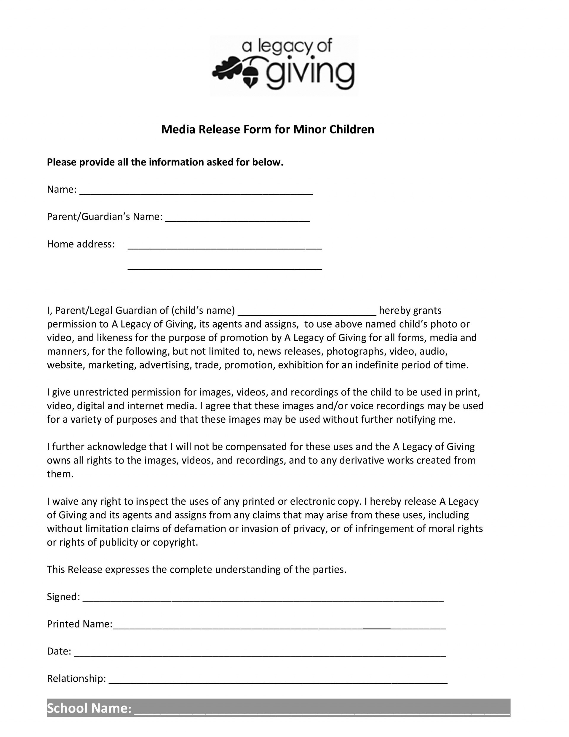 Print Release form Template